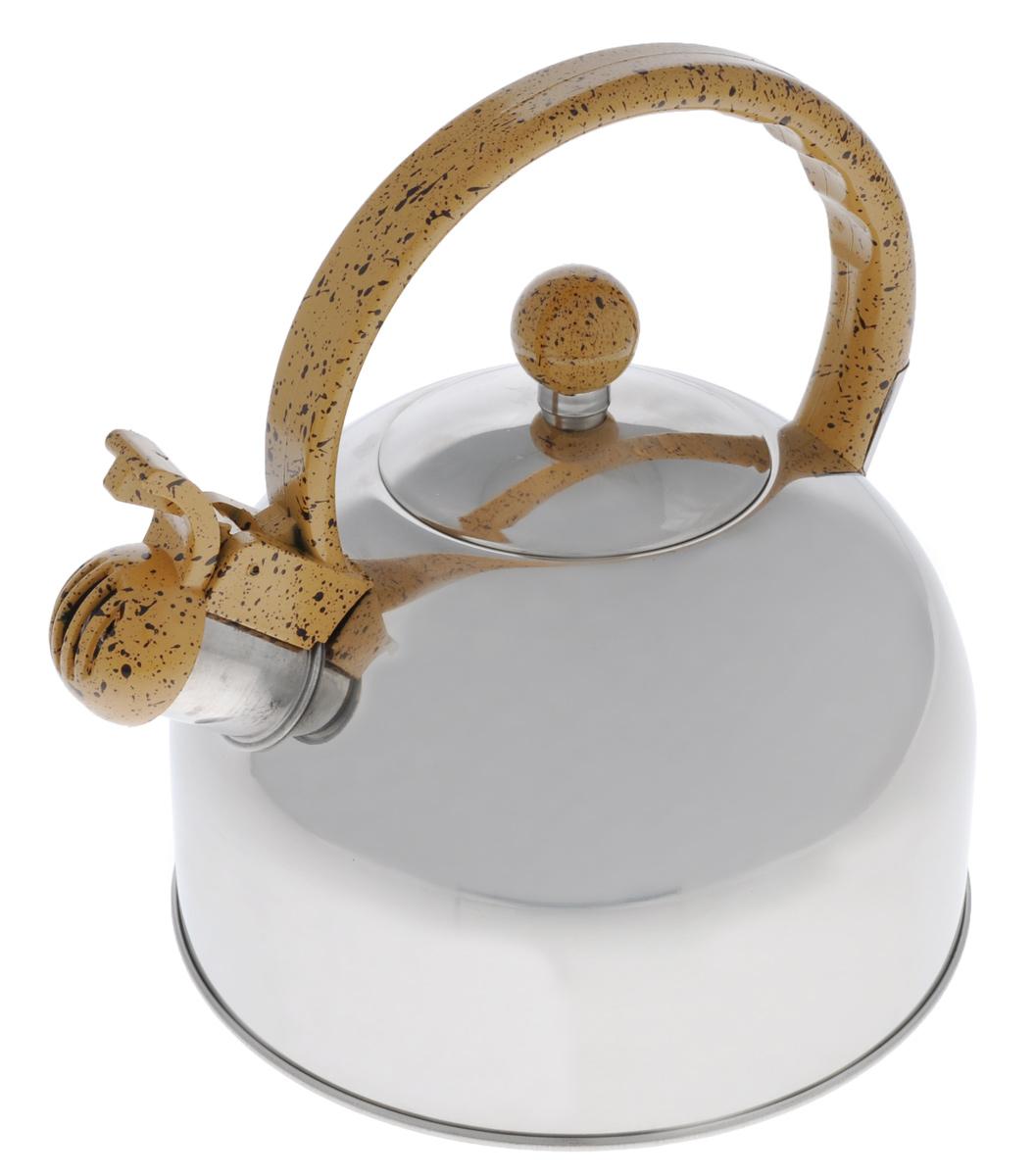 Чайник Bekker Koch, со свистком, 2,5 л. 3518135181Чайник Bekker Koch изготовлен из высококачественной нержавеющей стали. Нержавеющая сталь - материал, из которого в течение нескольких десятилетий во всем мире производятся столовые приборы, кухонные инструменты и различные аксессуары. Этот материал обладает высокой стойкостью к коррозии и кислотам. Прочность, долговечность и надежность этого материала, а также первоклассная обработка обеспечивают практически неограниченный запас прочности и неизменно привлекательный внешний вид. Капсулированное дно позволяет изделию быстро нагреваться и дольше сохранять тепло. Чайник оснащен фиксированной пластиковой ручкой, что предотвращает появление ожогов и обеспечивает безопасность использования. Носик чайника имеет откидной свисток, который подскажет, когда вода закипела. Подходит для газовых, электрических и стеклокерамических плит. Не подходит для индукционных плит. Можно мыть в посудомоечной машине. Высота чайника (без учета ручки и крышки):...