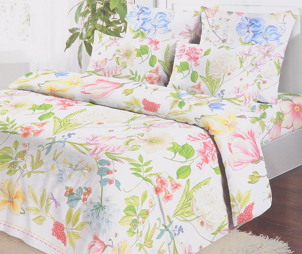 Комплект белья Коллекция Полянка, 2-спальный, наволочки 50х70, цвет: белый, зеленый, розовый. ОБК-2/50 5076.1ОБК-2/50 5076.1Комплект постельного белья Коллекция Полянка выполнен из бязи (100% натурального хлопка). Комплект состоит из пододеяльника, простыни и двух наволочек. Постельное белье оформлено ярким красочным рисунком. Хорошая, качественная бязь всегда ценилась любителями спокойного и комфортного сна. Гладкая структура делает ткань приятной на ощупь, мягкой и нежной, при этом она прочная и хорошо сохраняет форму. Благодаря такому комплекту постельного белья вы сможете создать атмосферу роскоши и романтики в вашей спальне.