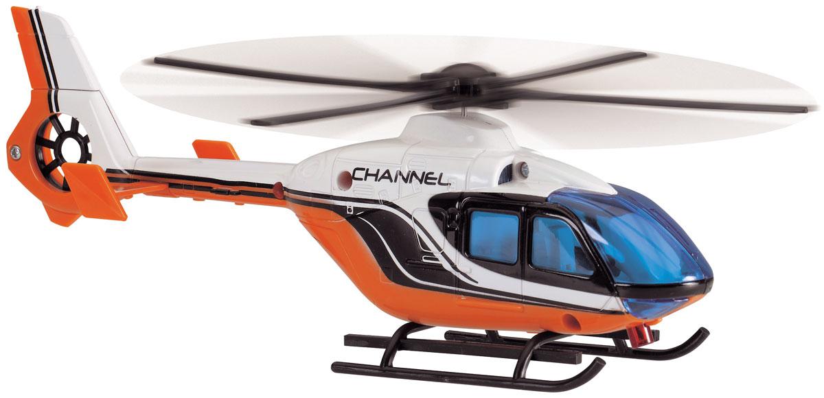 Dickie Toys Вертолет Channel3423_оранжевый, белыйЯркий вертолет Channel непременно понравится малышу и надолго привлечет его внимание. Вертолет оснащен фрикционным механизмом: необходимо потянуть за лебедку и лопасти вертолета начинают вращаться. Дверки грузового отсека легко открываются. Модель выполнена из высококачественного пластика. Порадуйте своего малыша таким замечательным подарком!