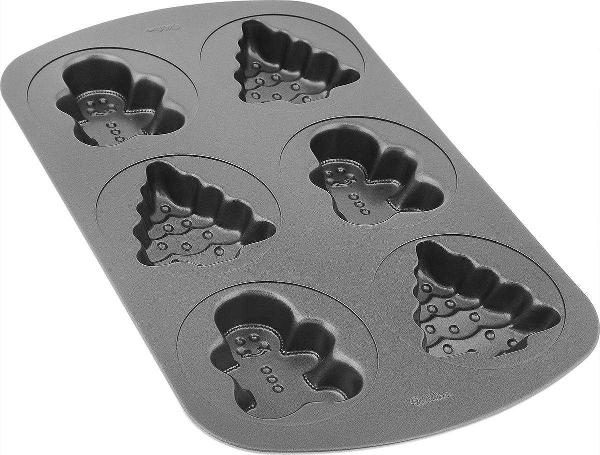 Форма для выпечки Wilton Пряничные человечки и елочки, с антипригарным покрытием, 6 ячеекWLT-2105-1515Форма для выпечки праздничного угощения Wilton Пряничные человечки и елочки изготовлена из металла с антипригарным покрытием. С таким покрытием пища не пригорает и не прилипает к стенкам. Готовить можно с минимальным количеством подсолнечного масла. Форма содержит 6 ячеек в виде пряничных человечков и елочек. Простая в уходе и долговечная в использовании форма будет верной помощницей в создании ваших кулинарных шедевров. Можно мыть в посудомоечной машине. Размер формы: 42 см x 26 см х 4 см. Размер ячейки елочка: 10 см х 9 см х 3,8 см. Размер ячейки пряничный человечек: 9,5 см х 7,5 см х 3,8 см.