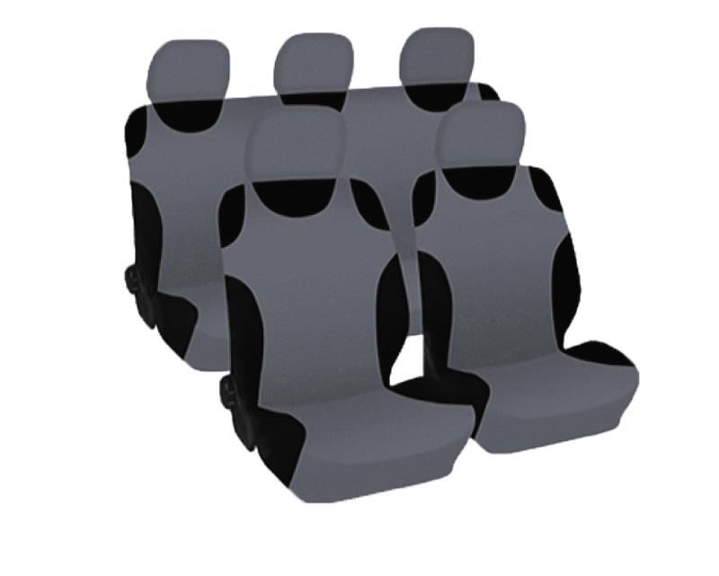 Набор чехлов на сиденье Phantom Cars spirit, цвет: серый, 9 предметов5056Набор чехлов на сиденье Phantom Cars spirit изготовлен из полиэстера с подложкой из поролона и включает в себя: чехлы на подголовники - 5 шт, чехол-майка на передние сиденья - 2 шт, чехол-майка на заднее сиденье - 1 шт, чехол-майка на спинку заднего сиденья - 1 шт. Чехлы универсальных размеров подходят для любого автомобиля, а также могут использоваться в автомобилях с боковыми подушками безопасности. Форма майки позволяет использовать их на рельефных сиденьях, в том числе и на спортивных.