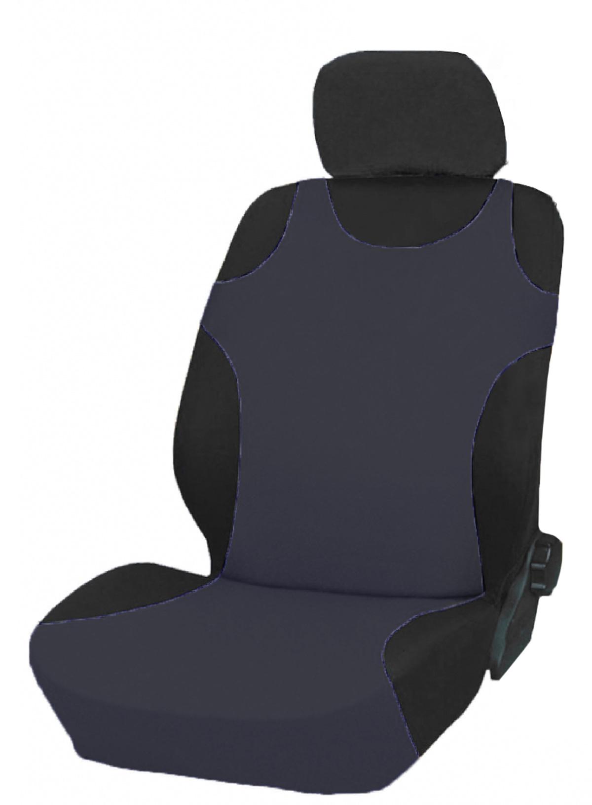 Чехол-майка на переднее сиденье Phantom, цвет: серый, 2 шт5066Чехол-майка на переднее сиденье Phantom выполнен из полиэстера с поролоновой подложкой. Комплект состоит из двух чехлов-маек на передние сиденья автомобиля. Чехлы имеют универсальный размер и могут использоваться на сиденьях со встроенными боковыми подушками безопасности. Размеры: 112 см (+10 см резинка) х 46 см (по спинке сиденья, немного растягивается).