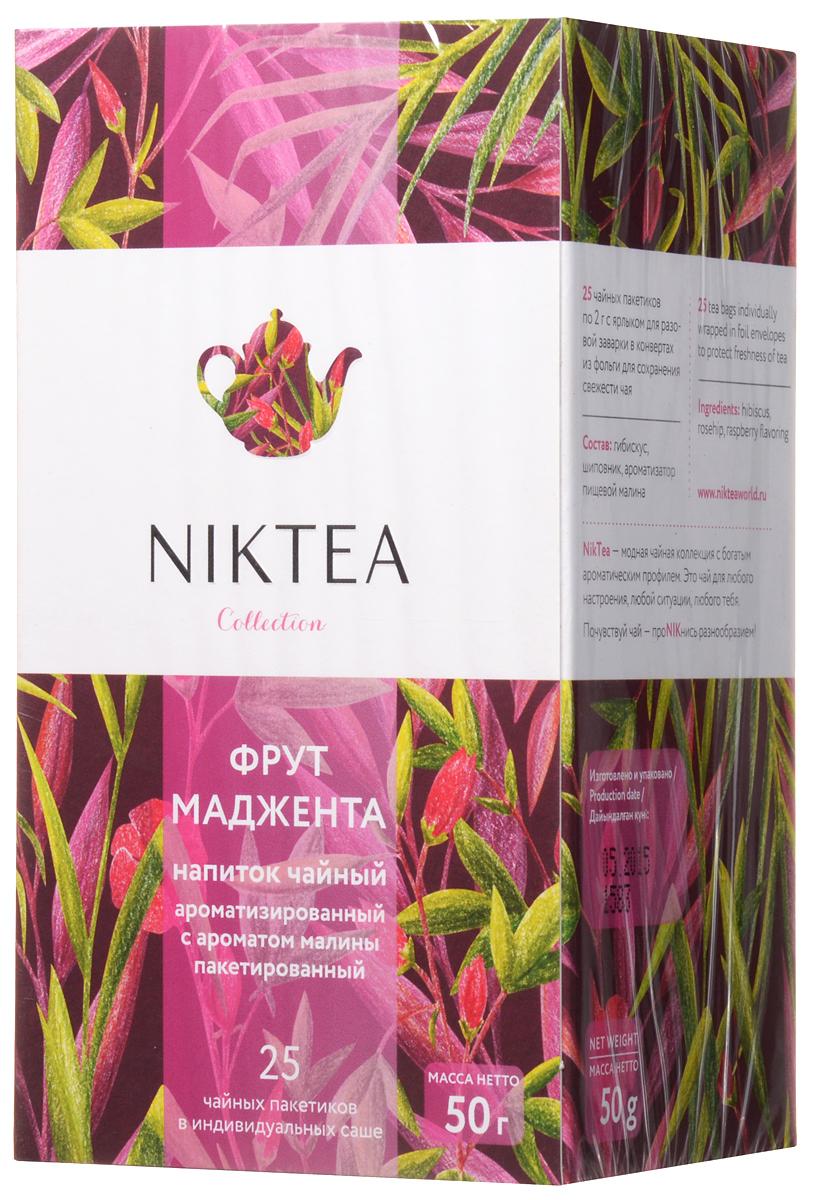Niktea Fruit Magenta чай фруктовый в пакетиках, 25 штTALTHA-DP0038Niktea Fruit Magenta - летний микс с ягодно-фруктовой кислинкой, легким винным обертоном и сладким послевкусием малинового конфитюра. Превосходно освежает в любое время дня. Коллекция NikTea разработана командой экспертов, имеющих богатый опыт в чайной индустрии. Во время ее создания выбирались самые надежные поставщики из Европы и стран происхождения чая, а в линейку включили не только топовые аутентичные позиции, но и новые интересные рецептуры в традициях современной чайной миксологии. NikTea - это действительно качественный чай. Для истинных ценителей мы предлагаем безупречное качество: отборное сырье, фасовку на высокотехнологичном производственном комплексе в России, постоянный педантичный контроль готового продукта, а также сертификацию сырья по международным стандартам. NikTea - это разнообразие. В линейках листового и пакетированного чая представлены все основные группы вкусов - от классического черного и зеленого чая до...