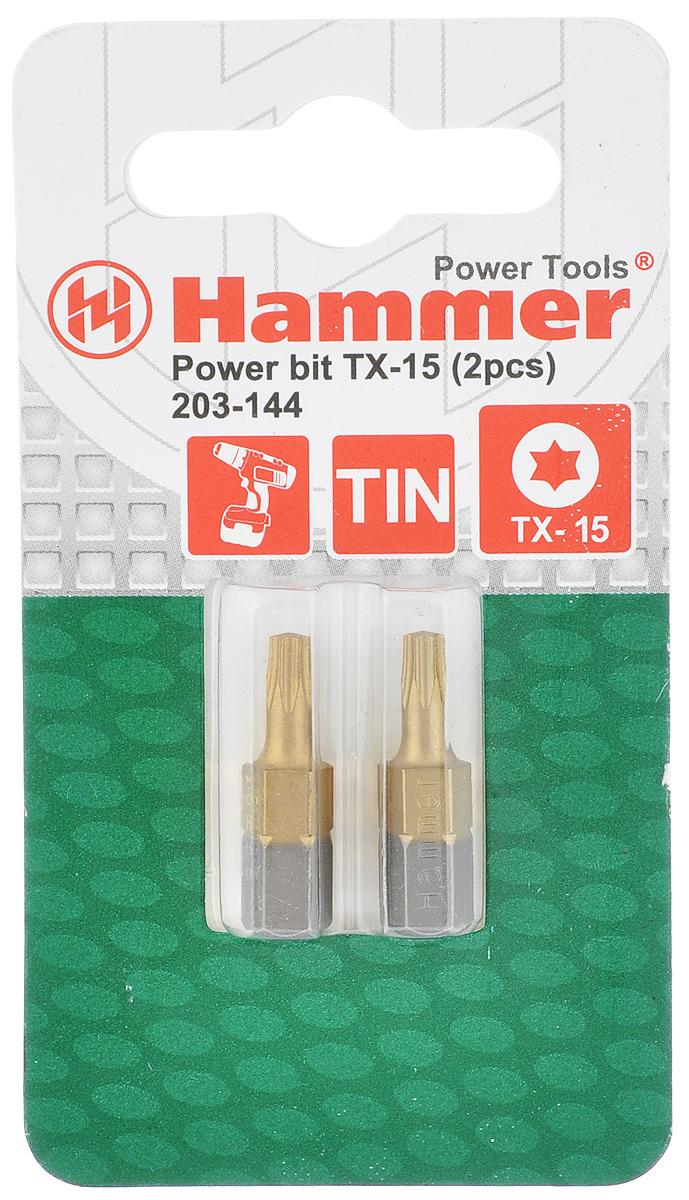 Бита Hammer, TX-15 x 25 мм, 2 шт30733Кованные биты Hammer изготовлены из хромомолибденовой стали S2 твердостью HRC52-53. Предназначены для монтажа/демонтажа резьбовых соединений. Технология ковки обеспечивает высокую износостойкость бит. Покрытие нитридом титана TIN придает дополнительную прочность, увеличивает ресурс бит и защищает от коррозии. Длина бит: 25 мм.