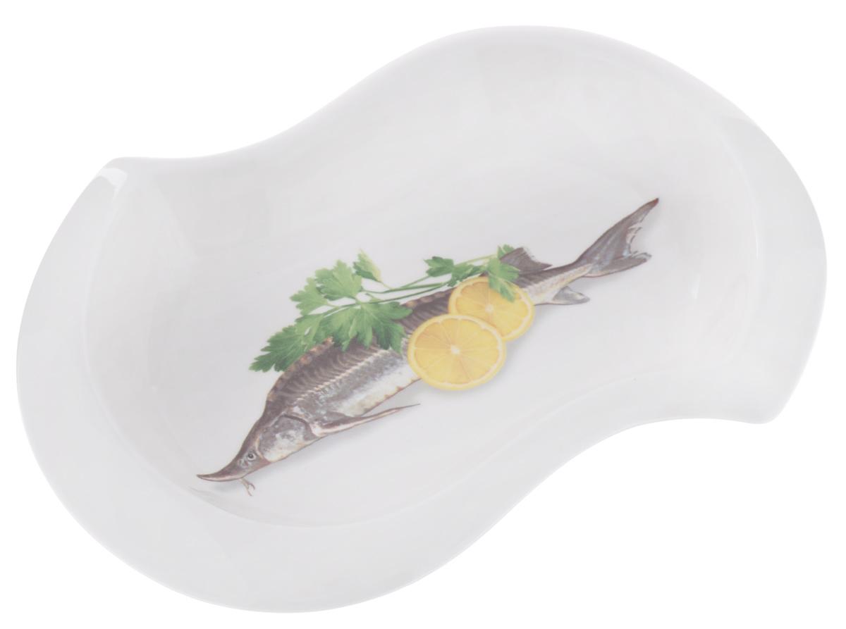 Шпротница Elan Gallery Осетр, 21 х 15 х 2,5 см101263Глубокая шпротница Elan Gallery Осетр, выполненная из высококачественной керамики, декорирована ярким изображением рыбы, лимона и зелени. Изделие предназначено для подачи блюд из рыбы, нарезки и многого другого. Шпротница Elan Gallery Осетр станет желанным подарком для вас и ваших близких!