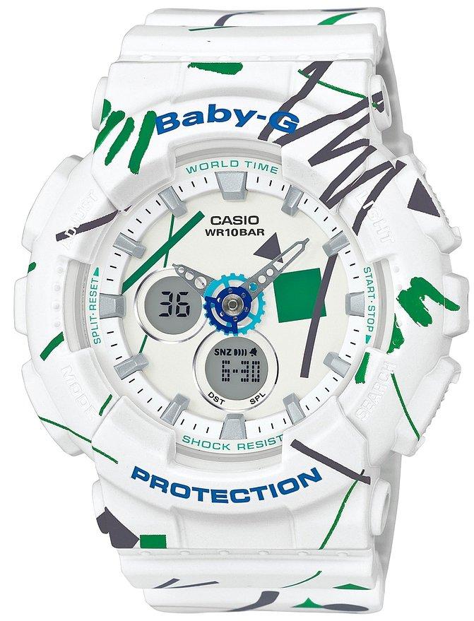 Часы наручные женские CASIO BABY-G, цвет: белый, зеленый. BA-120SC-7ABA-120SC-7AМинеральное стекло