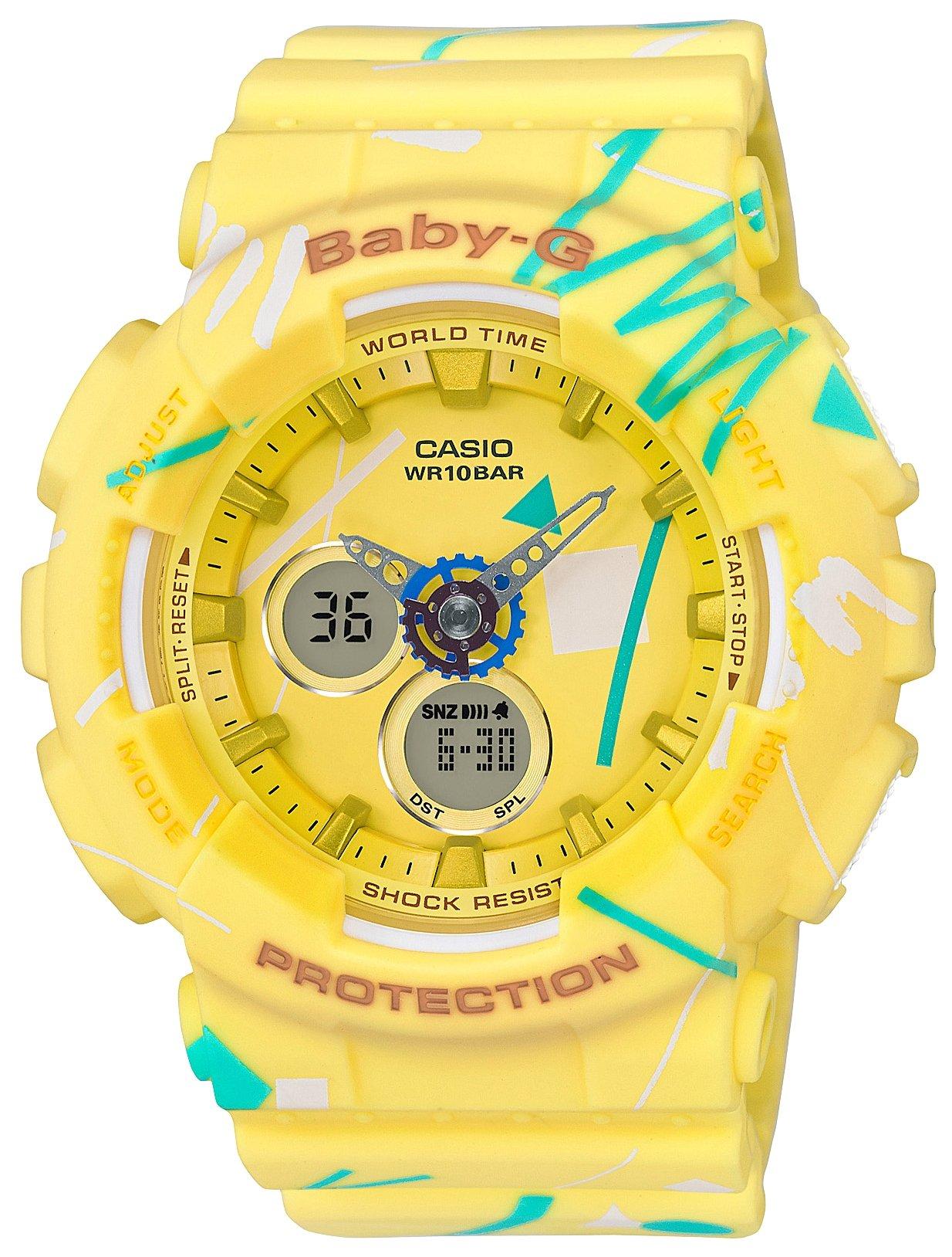 Часы наручные женские CASIO BABY-G, цвет: желтый, бирюзовый. BA-120SC-9ABA-120SC-9AМинеральное стекло