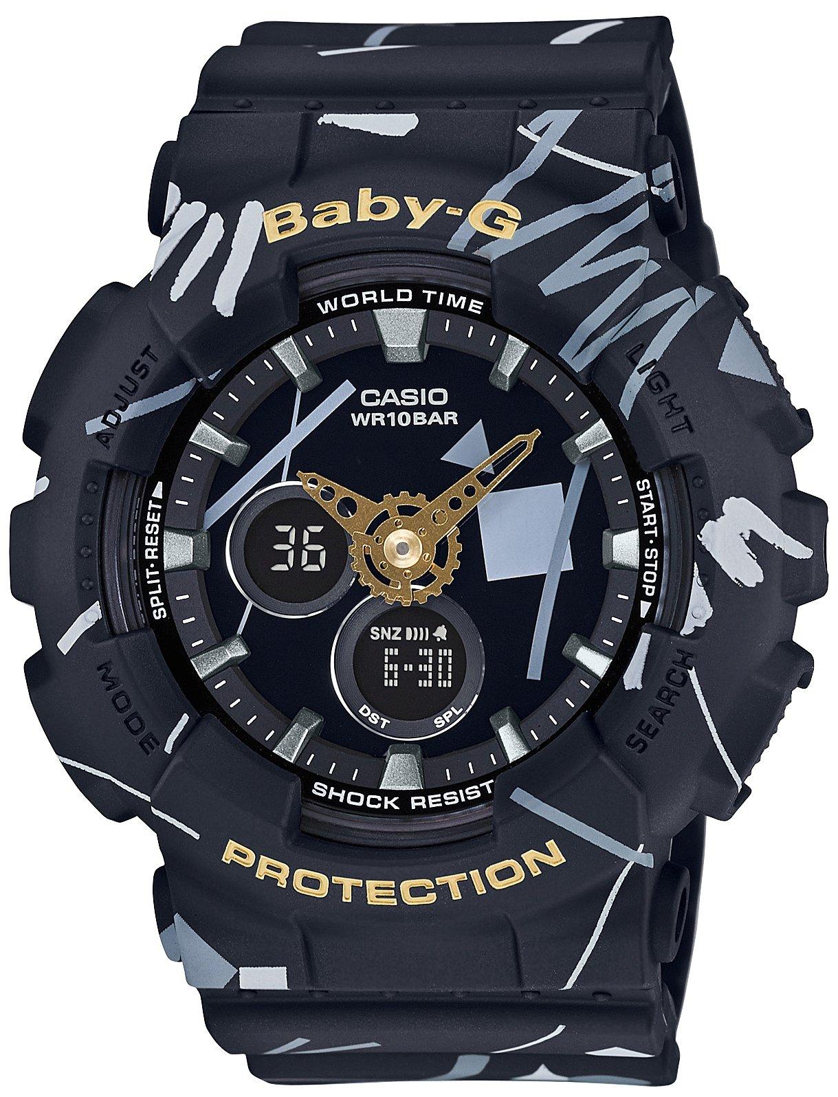 Часы наручные женские CASIO BABY-G, цвет: черный, серый. BA-120SC-1ABA-120SC-1AМинеральное стекло