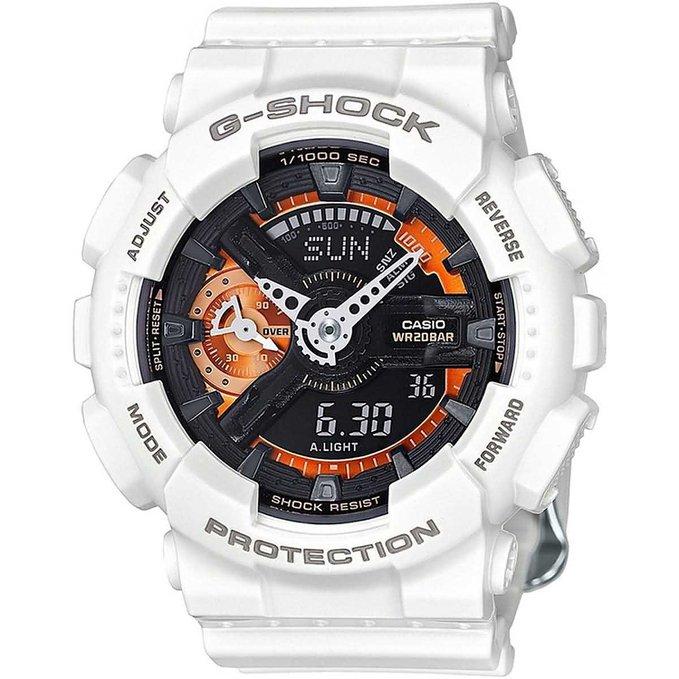 Часы наручные мужские CASIO G-SHOCK, цвет: белый, черный, оранжевый. GMA-S110CW-7A2GMA-S110CW-7A2Минеральное стекло