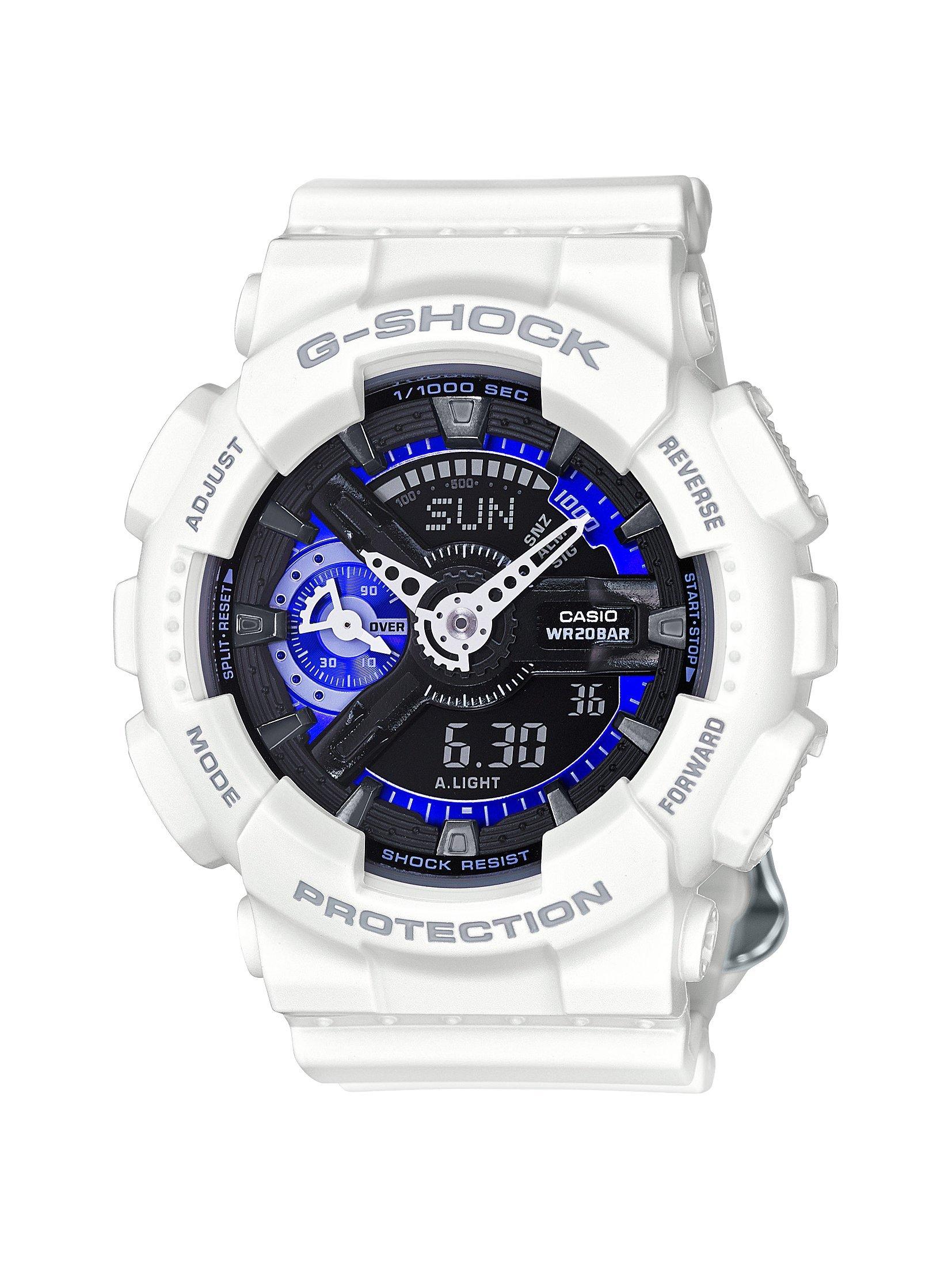 Часы наручные мужские CASIO G-SHOCK, цвет: белый, черный, синий. GMA-S110CW-7A3GMA-S110CW-7A3Минеральное стекло