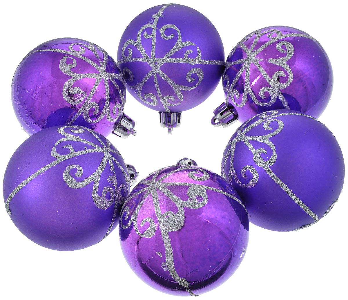 Набор новогодних подвесных украшений Феникс-Презент Шары, цвет: фиолетовый, диаметр 6 см, 6 шт35488_фиолетовыйНабор новогодних подвесных украшений Феникс-презент Шары прекрасно подойдет для праздничного декора вашей ели. Набор состоит из 6 пластиковых украшений в виде матовых и глянцевых шаров, декорированных блестками. Для удобного размещения на елке для каждого украшения предусмотрена текстильная петелька. Елочная игрушка - символ Нового года. Она несет в себе волшебство и красоту праздника. Создайте в своем доме атмосферу веселья и радости, украшая новогоднюю елку нарядными игрушками, которые будут из года в год накапливать теплоту воспоминаний. Откройте для себя удивительный мир сказок и грез. Почувствуйте волшебные минуты ожидания праздника, создайте новогоднее настроение вашим дорогим и близким.