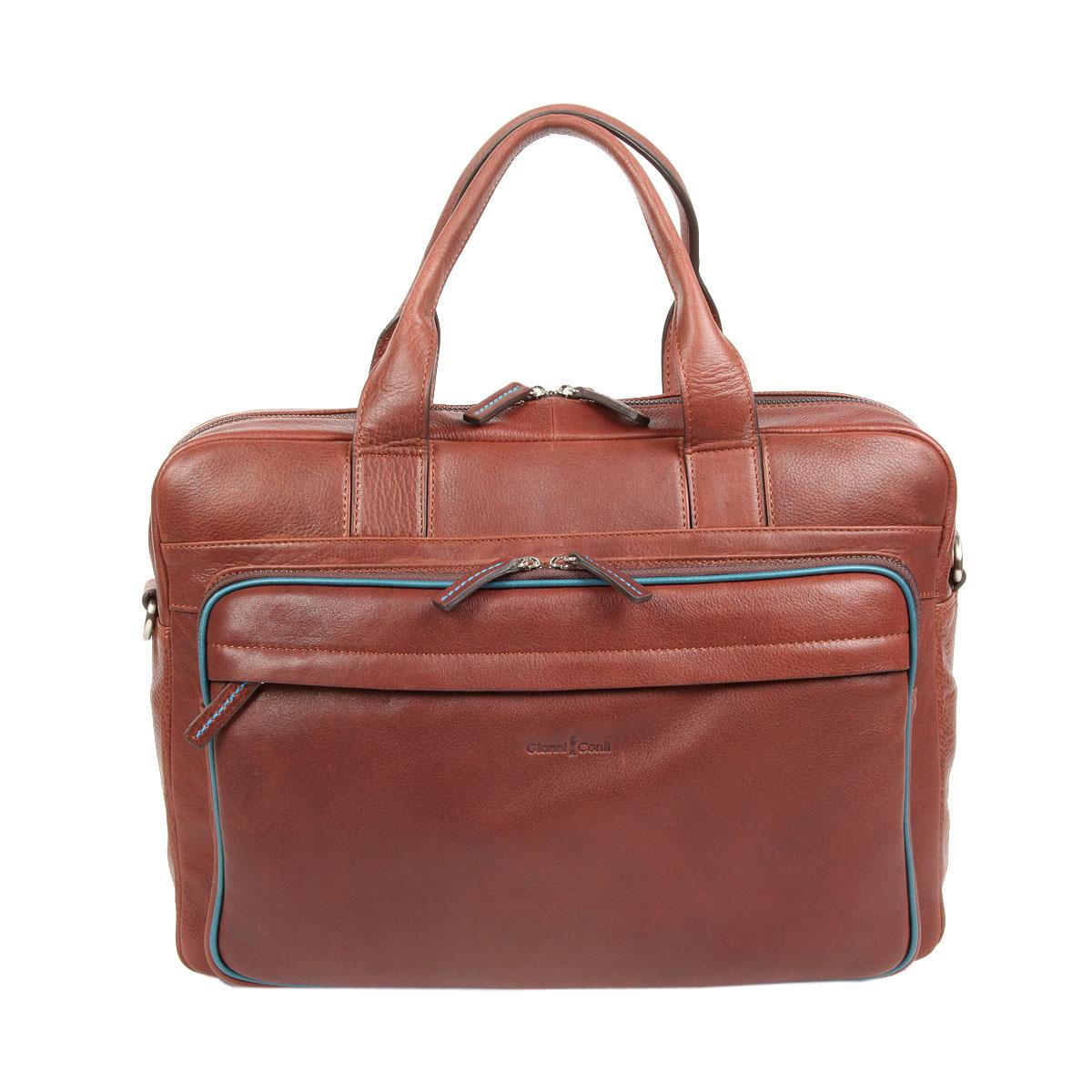 Сумка мужская Gianni Conti, цвет: коричневый. 17512761751276 brown tealСтильная мужская сумка Gianni Conti выполнена из натуральной кожи. Изделие имеет одно основное отделение, которое закрывается на застежку-молнию. Внутри имеются два открытых накладных кармана, держатель для авторучки, мягкий карман для ноутбука, который закрывается на хлястик с липучкой и прорезной карман на застежке-молнии. Снаружи, на передней стенке имеется накладной карман на застежке-молнии и прорезной карман на застежке-молнии. На задней стенке расположен дополнительный прорезной карман на застежке-молнии. Модель оснащена двумя удобными ручками. В комплект входит съемный текстильный плечевой ремень, который регулируется по длине. Основание защищено от повреждений металлическими ножками. Сумка упакована в фирменный чехол. Роскошная сумка внесет элегантные нотки в ваш образ и подчеркнет ваше отменное чувство стиля.
