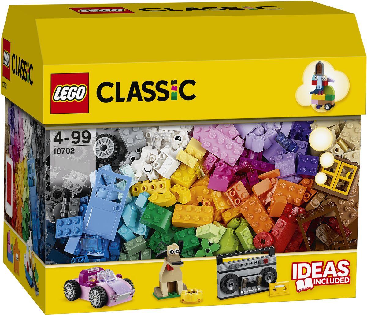LEGO Classic Конструктор Набор кубиков для свободного конструирования 1070210702Набор кубиков для свободного конструирования LEGO Classic - это набор для детей от 4 лет. Он включает в себя 583 детали ярких цветов. Это разноцветные кирпичики различных геометрических форм, позволяющие создавать самые разнообразные сооружения - транспорт, фигурки животных, предметы быта и интерьера, и при этом быть совершенно свободным от каких-либо инструкций и рекомендаций. Так же в комплект входят несколько готовых элементов для конструирования - окна, двери, колесики и даже детали с изображением глаз, если вам вдруг захочется собрать из кубиков человека или зверя. Игры с конструкторами помогут ребенку развить воображение, внимательность, пространственное мышление и творческие способности. Такой конструктор надолго займет внимание малыша и непременно станет его любимой игрушкой.