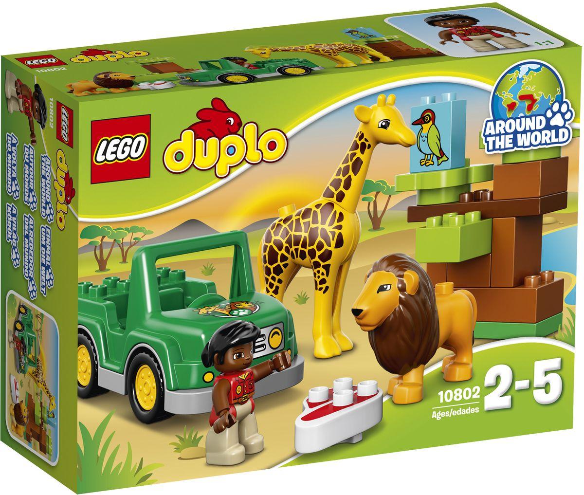 LEGO DUPLO Конструктор Вокруг света Африка 1080210802Конструктор LEGO DUPLO Вокруг света Африка приведет в восторг любого ребенка, ведь все дети обожают знаменитые конструкторы LEGO. Конструктор содержит 18 пластиковых элементов. Маленькие любители животных будут часами увлечённо играть, придумывая всё новые приключения в саванне! Им предстоит так много узнать об удивительных животных, которые здесь живут. Сборные деревья развивают основные навыки конструирования и создают ландшафт для бесконечных приключений. В набор входят фигурка человечка, а также лев и жираф. С яркими цветными кубиками LEGO DUPLO, разработанными специально для начинающих строителей, так легко собрать свою историю. Все элементы набора выполнены из безопасного пластика и имеют увеличенные размеры, специально для маленьких детских пальчиков. Игры с конструкторами помогут ребенку развить воображение, внимательность, пространственное мышление и творческие способности. Такой конструктор надолго займет внимание малыша и непременно...