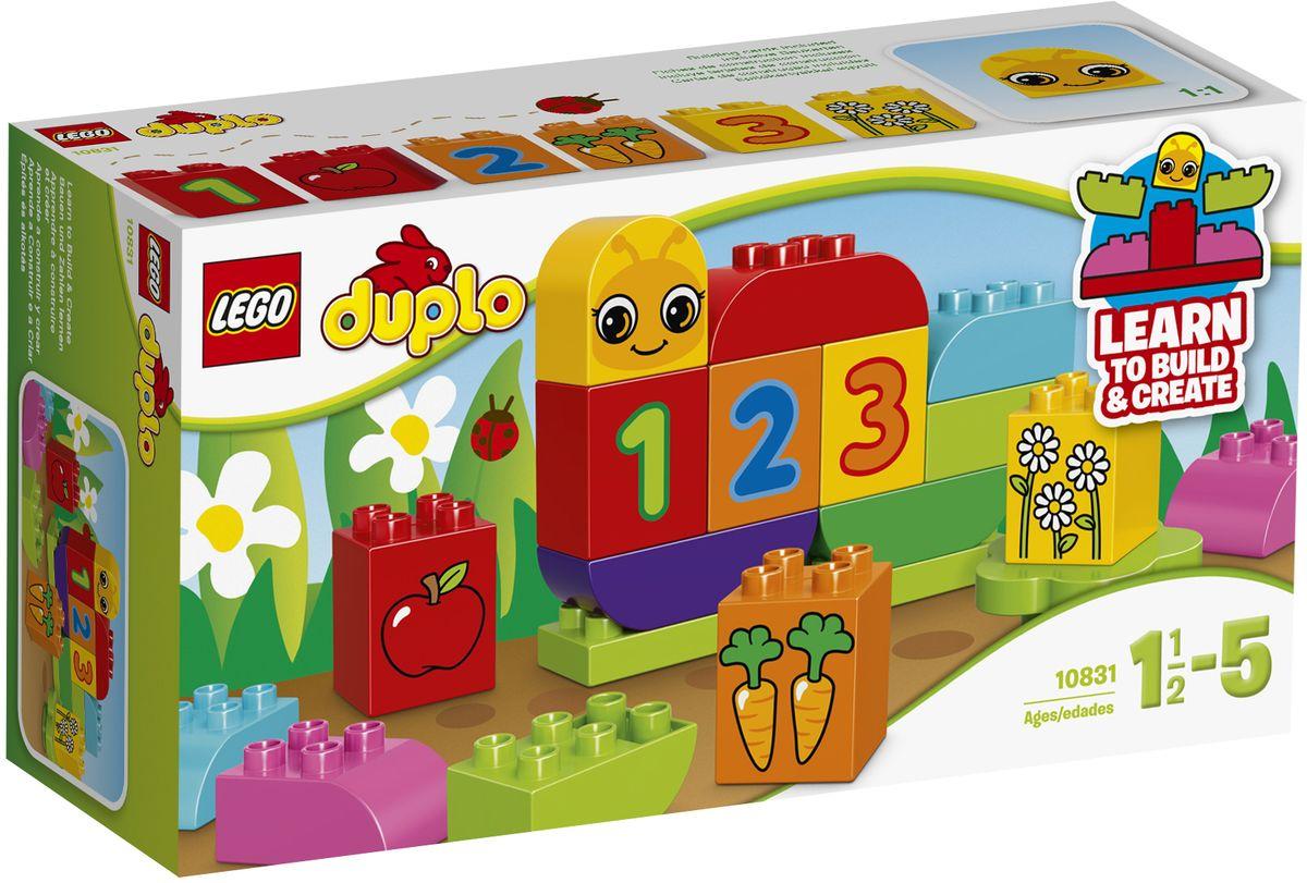 LEGO DUPLO Конструктор Моя веселая гусеница 1083110831Конструктор LEGO DUPLO Моя веселая гусеница приведет в восторг любого ребенка, ведь все дети обожают знаменитые конструкторы LEGO. Конструктор содержит 19 пластиковых элементов. Красочные кубики DUPLO специально разработаны, чтобы быть безопасным для маленьких ручек, а строительные карточки позволяют легко превратить гусеницу в прекрасную бабочку. Используйте специальные декорированные кубики для обучения счёту: одно яблоко, 2 морковки и 3 цветка. Ещё столько всего нужно узнать! С яркими цветными кубиками LEGO DUPLO, разработанными специально для начинающих строителей, так легко собрать свою историю. Все элементы набора выполнены из безопасного пластика и имеют увеличенные размеры, специально для маленьких детских пальчиков. Игры с конструкторами помогут ребенку развить воображение, внимательность, пространственное мышление и творческие способности. Такой конструктор надолго займет внимание малыша и непременно станет его любимой игрушкой. Яркий...