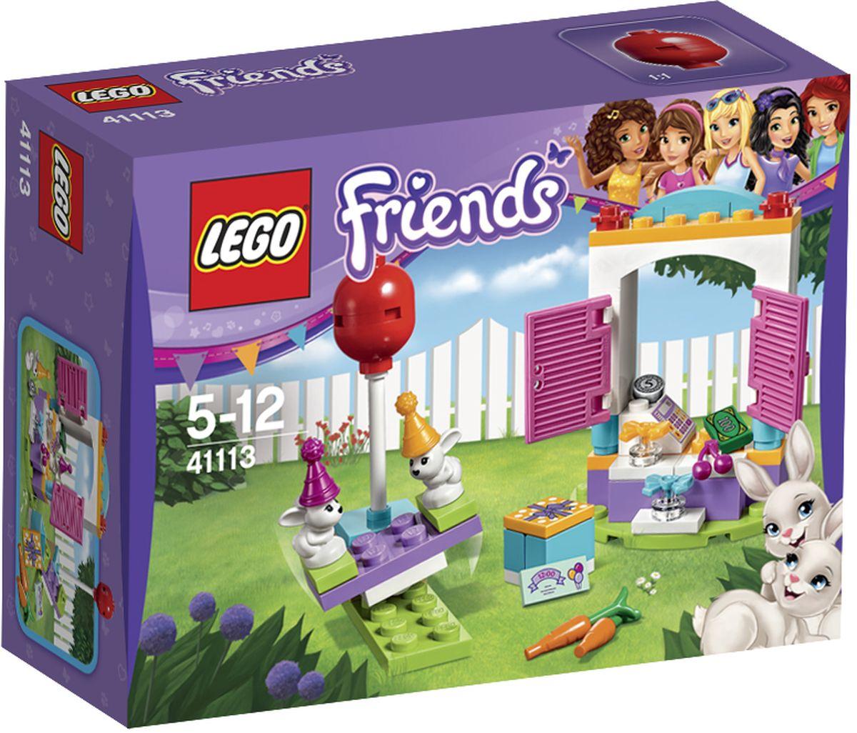 LEGO Friends Конструктор День рождения Магазин подарков 4111341113На вечеринку по случаю Дня рождения приглашены крольчата, нужно помочь им выбрать подарок. Откройте ставни магазина и выберите подарок, который вы положите в подарочную коробку. Теперь они могут качаться на качелях и перекусывать вкусной морковкой, прежде чем отправятся на вечеринку. Набор включает в себя 52 разноцветных пластиковых элемента. Конструктор - это один из самых увлекательнейших и веселых способов времяпрепровождения. Ребенок сможет часами играть с конструктором, придумывая различные ситуации и истории.