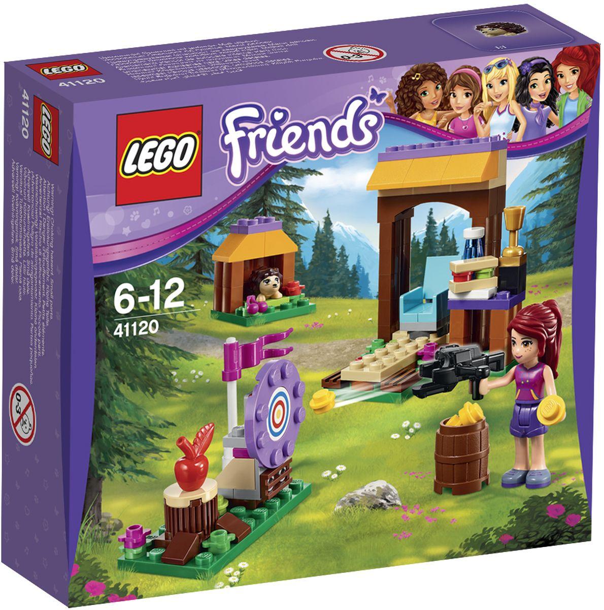 LEGO Friends Конструктор Спортивный лагерь Стрельба из лука 4112041120Миа хочет получить приз за стрельбу из лука, поэтому выдвигайтесь на позицию, чтобы помочь ей отточить свое мастерство. Продолжайте тренироваться, пока она не будет раз за разом попадать в цель! Перекусите бутербродом в шатре-столовой и насладитесь прогулкой по лесу - смотрите, вот на тропинку выбежал маленький ежик! Затем приготовьте лук снова и цельтесь в яблочко. Миа готова выиграть приз? Набор включает в себя 114 разноцветных пластиковых элементов. Конструктор - это один из самых увлекательнейших и веселых способов времяпрепровождения. Ребенок сможет часами играть с конструктором, придумывая различные ситуации и истории.
