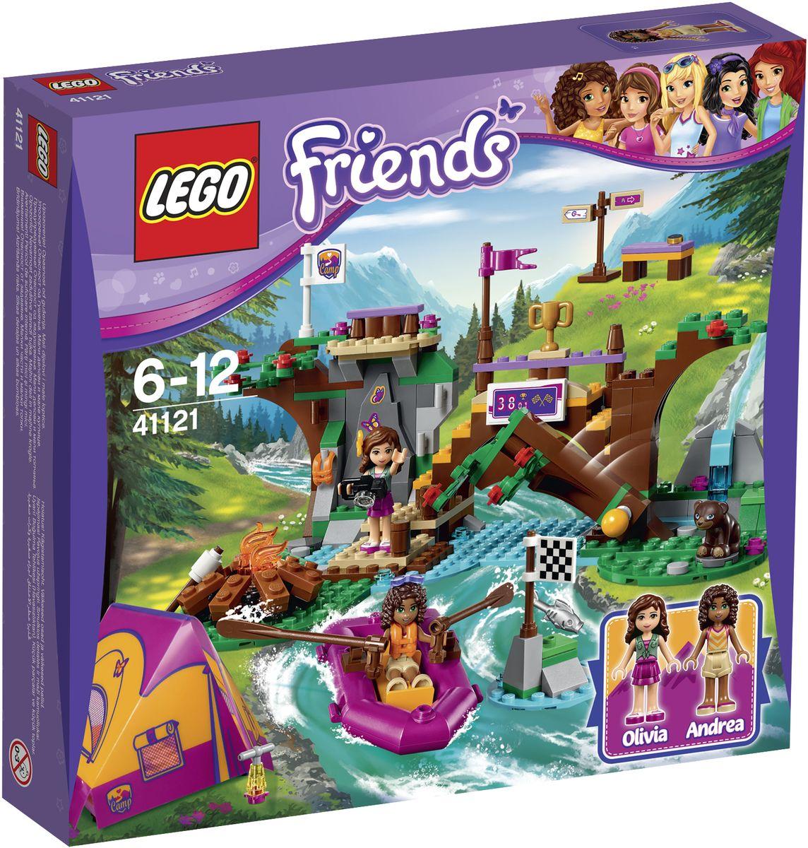 LEGO Friends Конструктор Спортивный лагерь Сплав по реке 4112141121Оливия и Андреа поехали на экскурсию в загородный лагерь, чтобы научится лазать по скалам и сплавляться по реке. Отправляйтесь к стене для скалолазания и проверьте, как быстро вы сможете достичь вершины, а затем наденьте спасательный жилет и преодолейте пороги в лодке. Остерегайтесь падающих деревьев и медведя, рыбачащего в реке! Вам удалось побить рекорд и выиграть приз? Затем поделитесь своими историями у костра и отдохните в палатке. Набор включает в себя 320 разноцветных пластиковых элементов. Конструктор - это один из самых увлекательных и веселых способов времяпрепровождения. Ребенок сможет часами играть с конструктором, придумывая различные ситуации и истории.