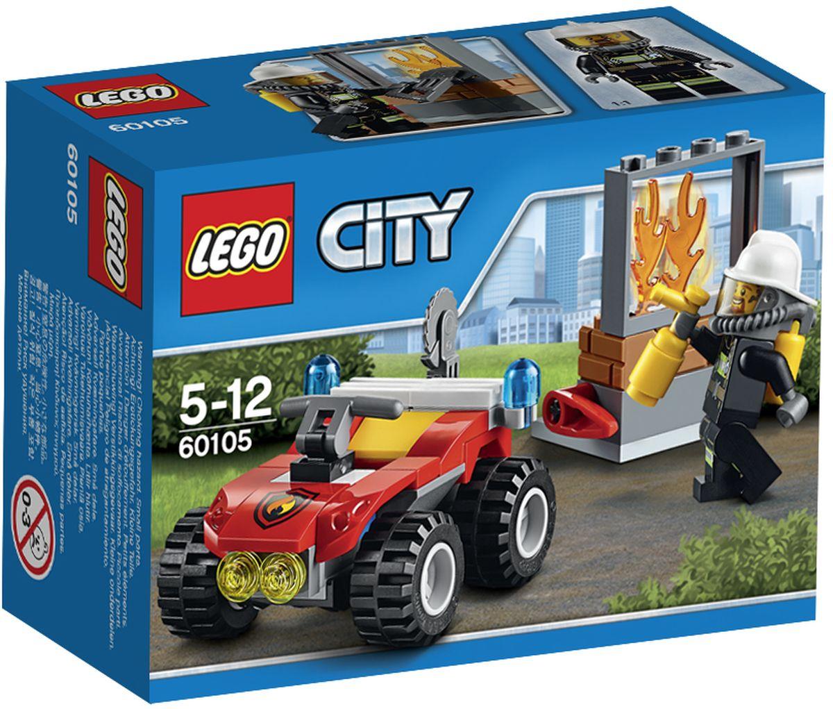 LEGO City Конструктор Пожарный квадроцикл 6010560105Конструктор Lego City Пожарный квадроцикл приведет в восторг любого ребенка, ведь все дети обожают знаменитые конструкторы Lego. Конструктор содержит 64 пластиковых элемента, с помощью которых малыш сможет собрать небольшую сценку из жизни Города Lego. Прыгай в кабину пожарного квадроцикла и спеши на помощь! Используй огнетушитель в задней части вездехода, чтобы потушить огонь. Вырежи окно с помощью пилы и осмотри место пожара. Потуши огонь и стань героем-пожарным в Lego City! В комплект входят фигурка пожарного, элементы для сборки пожарной машины, а также дополнительные аксессуары, которые разнообразят игру. Игры с конструкторами помогут ребенку развить воображение, внимательность, пространственное мышление и творческие способности. Такой конструктор надолго займет внимание малыша и непременно станет его любимой игрушкой.
