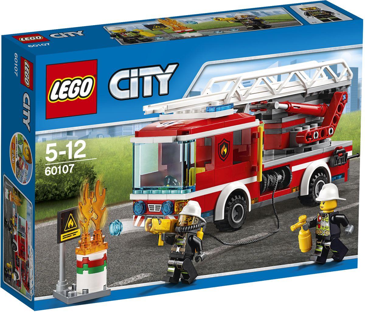 LEGO City Конструктор Пожарный автомобиль с лестницей 6010760107Конструктор Lego City Пожарный автомобиль с лестницей приведет в восторг любого ребенка, ведь все дети обожают знаменитые конструкторы Lego. Конструктор содержит 214 пластиковых элементов, с помощью которых малыш сможет собрать небольшую сценку из жизни Города Lego. Запрыгивай в пожарный грузовик с лестницей и спеши на место действия! Выдвигай лестницу и туши огонь. Используй специальный, выстреливающий водными элементами, шланг для борьбы с огнем и сбивай пламя на земле с помощью огнетушителя. Предотврати взрыв бочки с нефтью! Ты должен защитить город! В комплекте: элементы для сборки пожарной машины, фигурки двух пожарных, а также дополнительные аксессуары, которые разнообразят игру. Лестница на крыше машины поднимается и раскладывается, а шланг выстреливает снарядами, входящими в набор. Игры с конструкторами помогут ребенку развить воображение, внимательность, пространственное мышление и творческие способности. Такой конструктор надолго займет внимание малыша и...