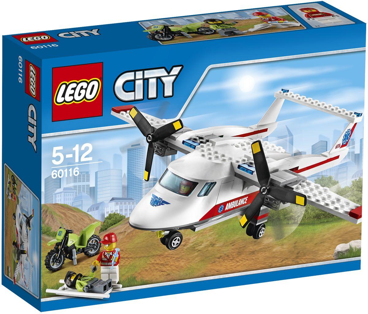 LEGO City Конструктор Самолет скорой помощи 6011660116Поприветствуй мотоциклиста, когда он проезжает мимо! А если вдруг случится беда, помоги врачу добраться к попавшему в аварию мотоциклисту. Затем положи пострадавшего на носилки, погрузи в самолёт скорой помощи и отвези туда, где ему смогут помочь! Конструктор LEGO City Самолет скорой помощи - это один из самых увлекательнейших и веселых способов времяпрепровождения. Ребенок сможет часами играть с конструктором, придумывая различные ситуации и истории. В набор также входят 3 мини-фигурки: мотоциклиста, пилота и врача. В процессе игры с конструкторами LEGO дети приобретают и постигают такие необходимые навыки как познание, творчество, воображение. Обычные наблюдения за детьми показывают, что единственное, чему они с удовольствием посвящают время, - это игры. Игра - это состояние души, это веселый опыт познания реальности. Играя, дети создают собственные миры, осваивают их, а познавая - приобретают знания и умения. Фантазия ребенка безгранична, беря свое начало в...