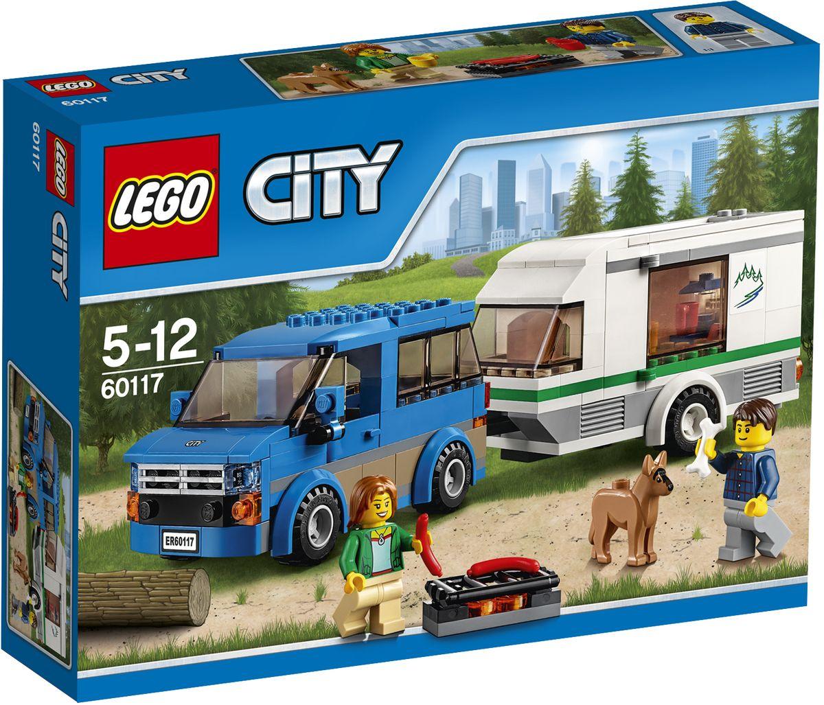 LEGO City Конструктор Фургон и дом на колесах 6011760117Конструктор Lego City Фургон и дом на колесах приведет в восторг любого ребенка, ведь все дети обожают знаменитые конструкторы Lego. Конструктор содержит 250 пластиковых элементов, с помощью которых малыш сможет собрать небольшую сценку из жизни Города Lego. Готовься к отпуску! Упакуй гриль и еду и не забудь косточку для собаки. Бери кофеварку и отправляйся в лагерь для туристов в фургоне с домом на колёсах. Припаркуй фургон и можешь отдыхать. Летний кемпинг в Lego City великолепен! В комплекте: элементы для сборки фургона и прицепного дома на колесах, фигурки двух человечков и собаки, а также дополнительные аксессуары, которые разнообразят игру. Дом на колесах раскрывается, а внутри достаточно места, чтобы поместить туда фигурку. Игры с конструкторами помогут ребенку развить воображение, внимательность, пространственное мышление и творческие способности. Такой конструктор надолго займет внимание малыша и непременно станет его любимой игрушкой.