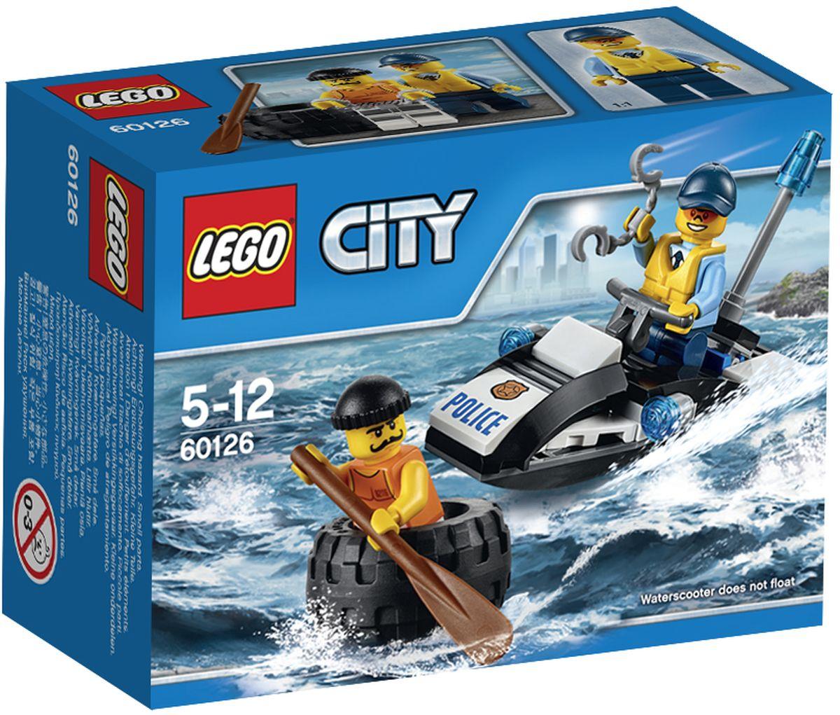 LEGO City Конструктор Побег в шине 6012660126Конструктор Lego City Побег в шине приведет в восторг любого ребенка, ведь все дети обожают знаменитые конструкторы Lego. Конструктор содержит 47 пластиковых элементов, с помощью которых малыш сможет собрать небольшую сценку из жизни Города Lego. Патрулируй водоёмы Lego City на полицейском водном скутере! В отделение полиции поступил вызов: мошенник уплывает на шине. Преследуй и поймай его, прежде чем он ускользнёт, затем надень на него наручники и отправь обратно в камеру в тюрьме на острове. Помоги сохранить порядок в городе! В комплект входят фигурки полицейского и преступника, элементы для сборки полицейского катера, а также дополнительные аксессуары, которые разнообразят игру. Игры с конструкторами помогут ребенку развить воображение, внимательность, пространственное мышление и творческие способности. Такой конструктор надолго займет внимание малыша и непременно станет его любимой игрушкой.