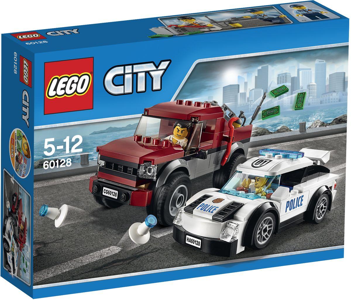 LEGO City Конструктор Полицейская погоня 6012860128Патрулируй улицы города на полицейском суперавтомобиле! Внезапно по радио передают информацию, что кто-то украл сейф. Поверни за угол и лицом к лицу столкнись с воришкой, который пытается открыть похищенный сейф. Если он попытается сбежать, отправляйся за ним в погоню на пикапе. Опереди его, чтобы установить полицейские конусы и остановить преступника. Каждый день в LEGO City полон приключений и сюрпризов! Конструктор LEGO City Полицейская погоня - это один из самых увлекательнейших и веселых способов времяпрепровождения. Ребенок сможет часами играть с конструктором, придумывая различные ситуации и истории. В набор также входят 2 мини-фигурки полицейского и преступника. В процессе игры с конструкторами LEGO дети приобретают и постигают такие необходимые навыки как познание, творчество, воображение. Обычные наблюдения за детьми показывают, что единственное, чему они с удовольствием посвящают время, - это игры. Игра - это состояние души, это веселый опыт...