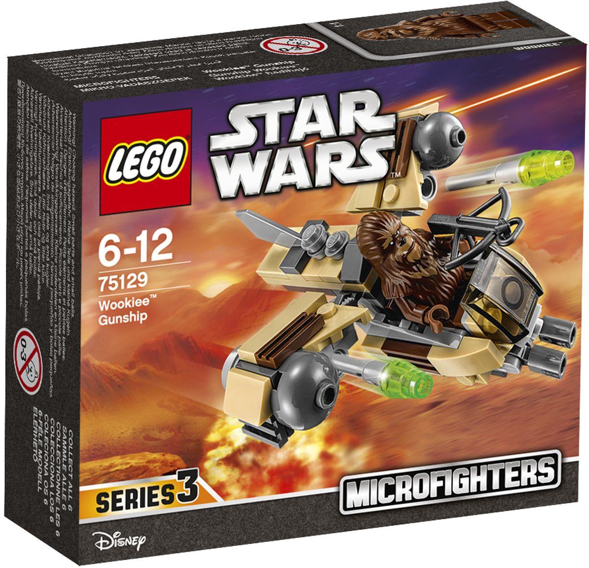 LEGO Star Wars Конструктор Боевой корабль Вуки 7512975129Конструктор Lego Star Wars Боевой корабль Вуки приведет в восторг любого поклонника знаменитой космической саги Звездные войны. Конструктор содержит 84 пластиковых элемента, с помощью которых вы сможете собрать оригинальную боевую машину из вселенной Звездных войн. Когда вторгаются вражеские силы, самое время вызвать боевой миникорабль Вуки. Посадите Вуки в кабину, зарядите ракеты и спешите в бой! Все элементы набора выполнены из прочного безопасного пластика. Корабль стреляет небольшими снарядами, входящими в набор. Также в набор входит фигурка пилота-вуки Игры с конструкторами помогут ребенку развить воображение, внимательность, пространственное мышление и творческие способности. Такой конструктор надолго займет внимание малыша и непременно станет его любимой игрушкой.