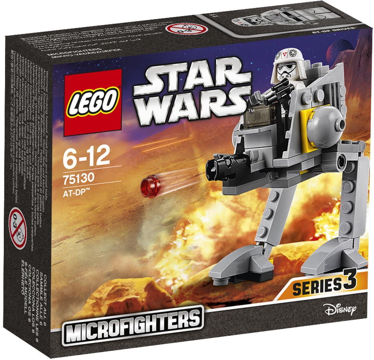 LEGO Star Wars Конструктор AT-DP 7513075130Конструктор Lego Star Wars AT-DP приведет в восторг любого поклонника знаменитой космической саги Звездные войны. Конструктор содержит 76 пластиковых элементов, с помощью которых вы сможете собрать оригинальную боевую машину из вселенной Звездных войн. Эти несносные повстанцы доставляют проблемы и должны быть пойманы. Посади водителя АТ-DP в кабину, вооружи бластером и готовься выдвигаться к месту боя! Все элементы набора выполнены из прочного безопасного пластика. Робот стреляет небольшими снарядами, входящими в набор. Также в набор входит фигурка пилота. Игры с конструкторами помогут ребенку развить воображение, внимательность, пространственное мышление и творческие способности. Такой конструктор надолго займет внимание малыша и непременно станет его любимой игрушкой.