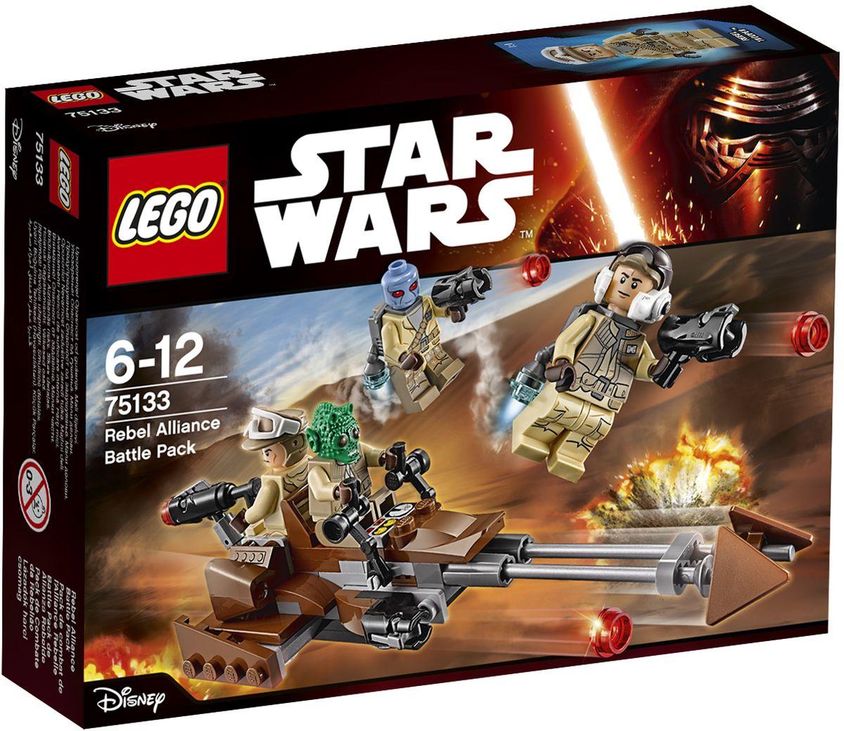 LEGO Star Wars Конструктор Боевой набор Повстанцев 7513375133Конструктор Lego Star Wars Боевой набор Повстанцев приведет в восторг любого поклонника знаменитой космической саги Звездные войны. Конструктор содержит 101 пластиковый элемент, с помощью которых вы сможете собрать оригинальную боевую машину из вселенной Звездных войн. Когда повстанцам нужна быстрая помощь, вызови скоростной спидер с передними и задними пушками. Посади пилота, расположи пулемётчика сзади и веди Повстанцев в бой! Все элементы набора выполнены из прочного безопасного пластика. Корабль и бластеры солдат стреляют небольшими снарядами, входящими в набор. Также в набор входят фигурки солдат-повстанцев. Игры с конструкторами помогут ребенку развить воображение, внимательность, пространственное мышление и творческие способности. Такой конструктор надолго займет внимание малыша и непременно станет его любимой игрушкой.