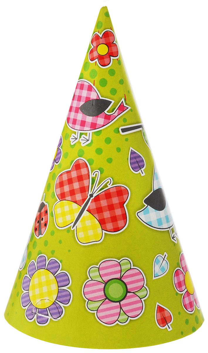 Веселая затея Колпак Летний цвет зеленый желтый 6 шт1501-2563Колпак Веселая затея Летний развеселит вас и ваших друзей в праздничный день. Колпак выполнен из картона ярких цветов и оформлен изображением птичек, бабочек, цветочков, по 3 колпака с зеленой и желтой расцветкой. Имеет резинку для надежного крепления на подбородке. Почувствуйте волшебные минуты ожидания праздника, создайте праздничное настроение вашим дорогим и близким! В комплекте 6 колпаков.