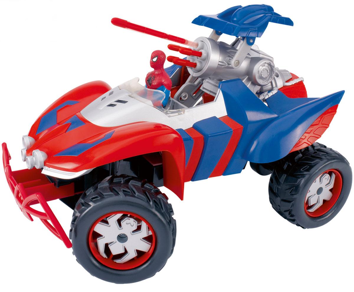 Majorette Машина на радиоуправлении Ultimate Spider-Man Shooting Car3089825Машинка на радиоуправлении Majorette Ultimate Spider-Man выполнена в виде мощного внедорожника супергероя с его фигуркой на водительском месте. Машинка оснащена боевой пушкой, выстреливающей пятью ракетами. Возможность наклона колес, которой обладает эта машина, позволяет транспортному средству Человека-Паука исполнить поворот любой сложности. С помощью пульта дистанционного управления, стилизованного в соответствующей тематике, машина может двигаться вперед и назад, поворачивать направо и налево, останавливаться. Машинка на радиоуправлении Majorette Ultimate Spider-Man станет отличным подарком маленькому поклоннику Человека-Паука! Пульт управления работает на частоте 27 MHz. Для работы игрушки необходимы 6 батареек типа АА (не входят в комплект). Для работы пульта управления необходима 1 батарейка типа Крона (не входит в комплект).