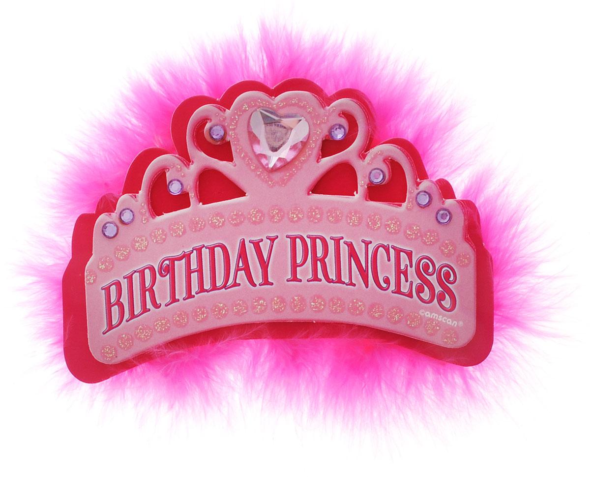 Amscan Значок Тиара Birthday Princess1507-0631Великолепный значок в виде тиары Birthday Princess станет отличным украшением для именинницы. Значок выполнен из пластика розового цвета, украшен стразами и розовыми перышками. Середину значка-тиары венчает страз в форме сердца розового цвета. Значок крепится на одежду с помощью безопасной булавки.