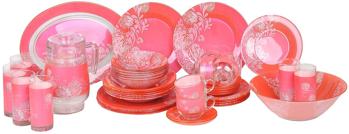 Набор столовой посуды Luminarc Piume, 45 предметовJ8279Набор Luminarc Piume состоит из 6 суповых тарелок, 6 обеденных тарелок, 6 десертных тарелок и глубокого салатника, блюда, 6 чашек, 6 блюдец, 6 малых салатников, графина, 6 стаканов. Изделия выполнены из ударопрочного стекла, имеют яркий дизайн с рисунком по краям и классическую круглую форму. Посуда отличается прочностью, гигиеничностью и долгим сроком службы, она устойчива к появлению царапин и резким перепадам температур. Такой набор прекрасно подойдет как для повседневного использования, так и для праздников или особенных случаев. Набор столовой посуды Luminarc Piume - это не только яркий и полезный подарок для родных и близких, а также великолепное дизайнерское решение для вашей кухни или столовой. Можно использовать в микроволновой печи, не рекомендуется мыть в посудомоечной машине. Диаметр суповой тарелки: 21 см. Высота суповой тарелки: 3 см. Диаметр обеденной тарелки: 25 см. Высота обеденной тарелки:...