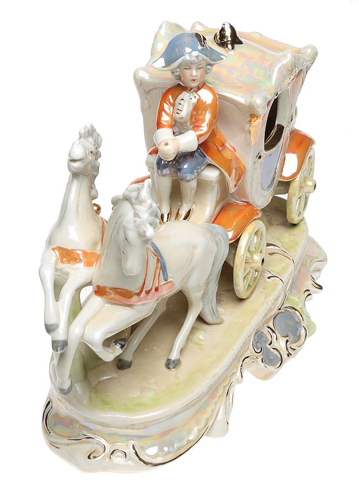 Статуэтка Карета, запряженная парой лошадей. Фарфор, роспись, люстр, золочение. Графенталь, Тюрингия. Германия, 1950-е - 1960-е гг.ПБ ДПА 16082016-3Статуэтка Карета, запряженная парой лошадей. Фарфор, роспись, люстр, золочение. Графенталь, Тюрингия. Германия, 1950-е - 1960-е гг. Размер 25,5 х 12 х 17,5 см. На основании красное по черепку клеймо, сбоку на плинте в тесте надпись: Germany 21842. Сохранность хорошая.