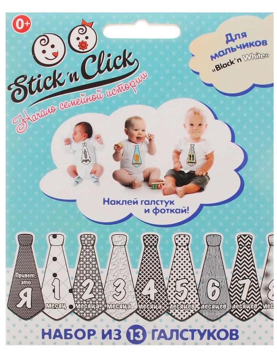 Stick'n Click Наклейки галстуки с месяцами для мальчиков Black'n White