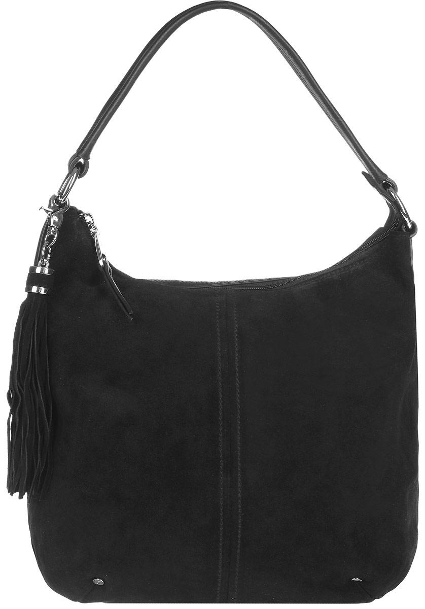 Сумка женская Fabretti, цвет: черный. F20018F20018-neroСтильная сумка Galaday, выполнена из натуральной кожи и замши, оформлена съемной подвеской в виде кисти. Изделие содержит одно основное отделение, которое закрывается на застежку-молнию. Внутри сумки размещены: четыре накладных кармана, один из которых на молнии, и врезной карман на молнии. Снаружи, в тыльной стенке сумки, расположен врезной карман на молнии. Изделие дополнено практичной лямкой, которая позволит носить изделие, как в руках, так и на плече. Лямка крепится к основанию изделия при помощи металлической фурнитуры. Оригинальный аксессуар позволит вам завершить образ и быть неотразимой.