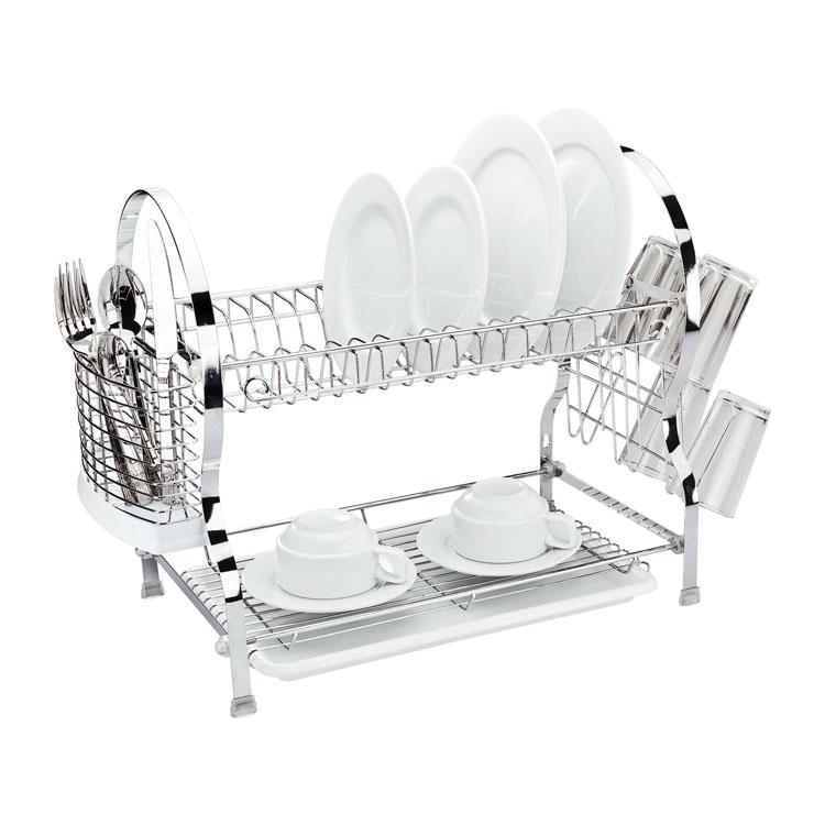 Сушилка для посуды Mayer & Boch, двухъярусная, 54 х 26 х 41 см4005Двухъярусная сушилка для посуды Mayer & Boch выполнена из хромированной нержавеющей стали и полипропилена. Изделие оснащено поддоном для стекания воды и подставками для столовых приборов и стаканов. Сушилка может быть установлена как на столе, так и подвешена на стену при помощи крючков (не входят в комплект). Размер сушилки (с учетом подставок): 54 см х 26 см х 41 см. Размер поддона: 38 см х 25 см х 2,5 см.