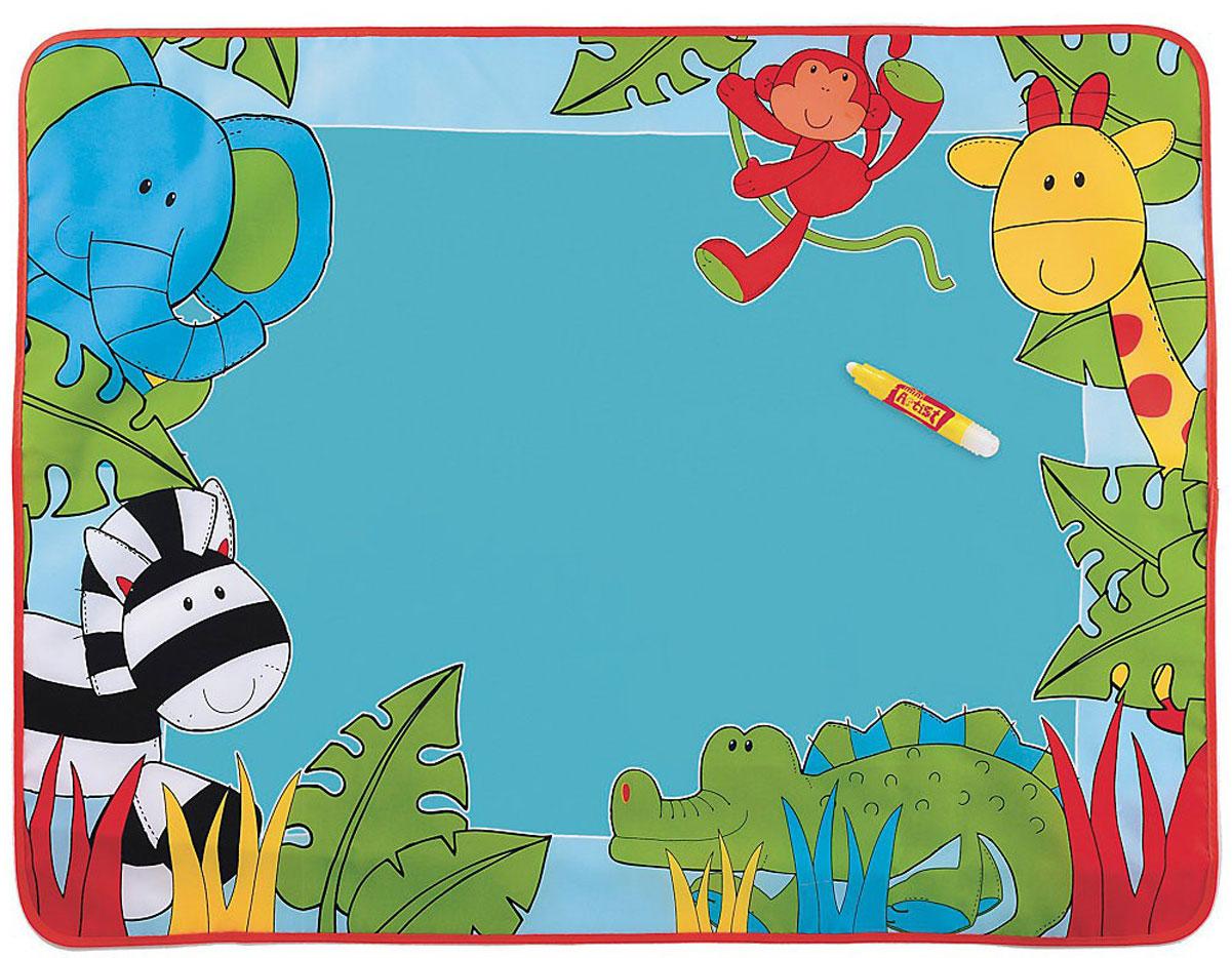 ELC Коврик для рисования водой Aqua Magic132970Коврик для рисования водой ELC Aqua Magic непременно понравится вашему малышу. Мягкий развивающий коврик выполнен из современных легких материалов, абсолютно безопасных для ребенка. Лицевая сторона коврика оформлена изображениями забавных обитателей джунглей. Зона для рисования расположена в центре коврика. Малышу не понадобятся краски, кисточки или карандаши, ведь на красивом мягком коврике можно рисовать специальным маркером, который заправляется обычной водой. Вода через несколько минут высыхает, и коврик снова готов к рисованию. Развивающий коврик для рисования водой ELC Aqua Magic не только разовьет фантазию и творческие способности вашего малыша, но и поможет в легкой игровой форме изучить основные формы, научит ребенка их изображать, поможет научиться ориентироваться на плоскости листа бумаги и подготовит руку к письму. Также он будет полезен ребенку в развитии слуха и цветовосприятия, мелкой моторики рук, тактильных ощущений, познакомит с цветами, цифрами и...