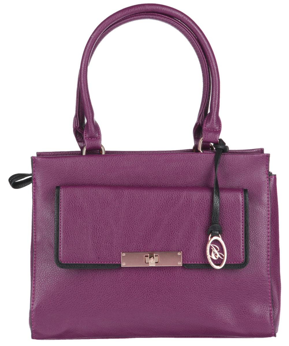 Сумка женская Jane Shilton, цвет: пурпурный. 19291929purpleСтильная сумка Jane Shilton выполнена из искусственной кожи с зернистой фактурой, оформлена подвеской и металлической фурнитурой с символикой бренда. Сумка содержит одно отделение, которое закрывается на застежку-молнию. Внутри изделия расположены карман- средник на молнии, накладной карман для телефона и врезной карман на застежке-молнии. Снаружи, в тыльной стенке сумки, размещен врезной карман на молнии и в лицевой стенке изделия расположен врезной карман, который закрывается клапаном на замок-вертушку. Изделие оснащено двумя практичными ручками, которые позволят носить сумку, как в руках, так и на плече. Оригинальный аксессуар позволит вам завершить образ и быть неотразимой.