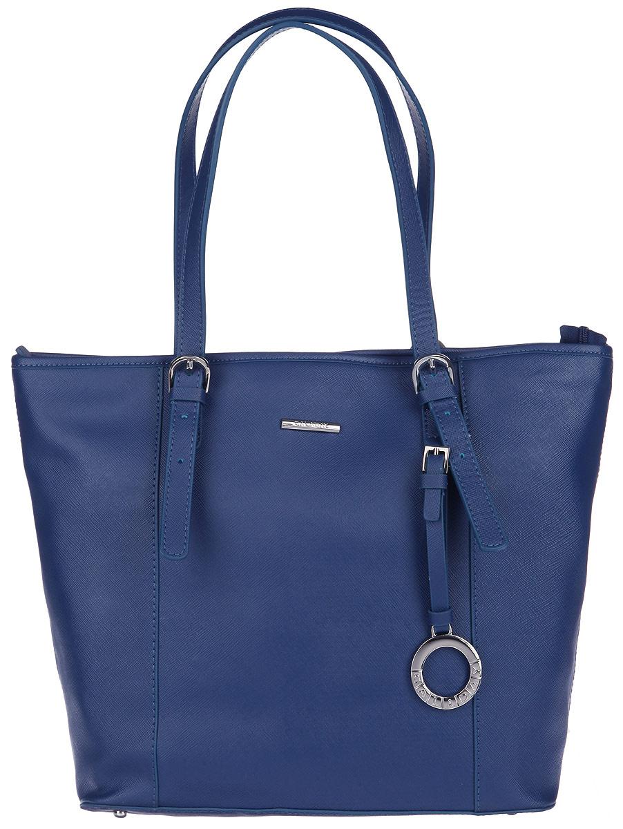 Сумка женская Galaday, цвет: синий. GD5219QGD5219Q-blueСтильная сумка Galaday, выполнена из натуральной кожи с декоративным тиснением, оформлена декоративной подвеской и металлической фурнитурой с символикой бренда. Изделие содержит одно основное отделение, которое закрывается на молнию. Внутри сумки размещены: два накладных кармана, врезной карман на молнии и карман-средник на молнии. Снаружи, в тыльной стенке сумки, расположен врезной карман на молнии. Изделие дополнено двумя практичными ручками регулируемой длины, которые позволят носить изделие, как в руках, так и на плече. Дно изделия дополнено металлическими ножками. Яркий аксессуар позволит вам завершить образ и быть неотразимой.