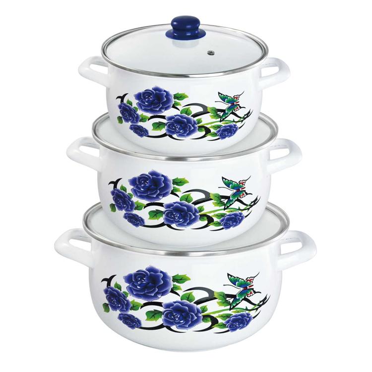 Набор эмалированных кастрюль Mayer & Boch Синие розы, с крышками, 6 предметов23663Набор эмалированной посуды Mayer & Boch Синие розы состоит из трех кастрюль разного объема с крышками. Изделия изготовлены из углеродистой стали высокого качества с эмалированным покрытием. Такое покрытие имеет существенные преимущества по показателям безопасности влияния на организм человека, санитарным свойствам, простоте ухода и рассчитан на длительный срок эксплуатации. Оно устойчиво к перепадам температуры, обладает высокой механической прочностью, противостоит воздействию пищевых кислот. Крышки выполнены из жаропрочного стекла c ободками из нержавеющей стали, имеют отверстия для выхода пара. Кастрюли пригодны для использования на всех видах плит, включая индукционные. Можно мыть в посудомоечной машине. Диаметр кастрюль: 18 см, 20 см, 22 см. Ширина кастрюль (с учетом ручек): 24 см, 26 см, 29 см. Высота стенок кастрюль: 11,5 см, 12 см, 13,5 см. Толщина стенки: 1 мм. Толщина дна: 3 мм. Объем кастрюль: 2 л, 2,7 л,...
