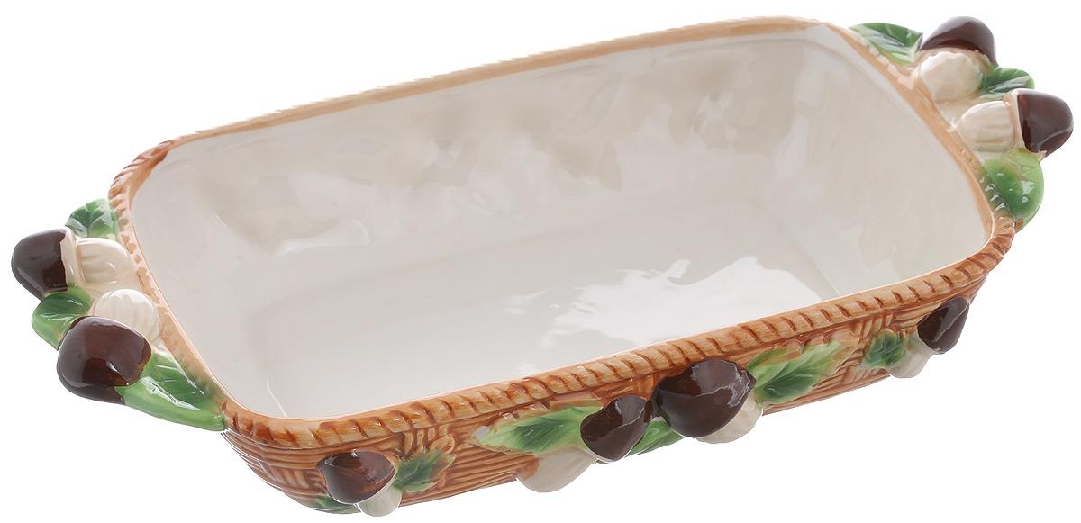 Шубница Elan Gallery Грибы, 950 мл110777Шубница Elan Gallery Грибы - это идеальное блюдо для сервировки традиционного салата Сельдь под шубой или любого другого слоеного салата. Компактное, аккуратное блюдо оснащено двумя ручками для удобной переноски. Оригинальный дизайн и эстетичность впишется в любой интерьер кухни и станет незаменимым при любом событии. Объем: 950 мл. Размер изделия (с учетом ручек): 31 см х 16,5 см х 6 см.
