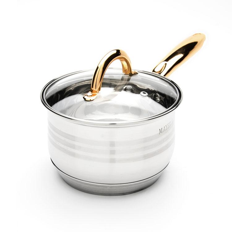 Сотейник Mayer & Boch с крышкой, 2 л. 2403524035Сотейник Mayer & Boch изготовлен из высококачественной нержавеющей стали. Комбинация матовой и зеркальной полировки внешнего покрытия придает изделию особо эстетичный вид. Внутренняя гладкая поверхность легко чистится - можно мыть в воде руками или протирать полотенцем. Сотейник имеет многослойное термоаккумулирующее дно, которое обеспечивает наилучшее распределение тепла. Прозрачная крышка, выполненная из термостойкого стекла, позволяет следить за процессом приготовления пищи. Ручка из нержавеющей стали надежно крепится к корпусу, а ее золотой цвет выигрышно подчеркивает неповторимый дизайн. Подходит для всех типов плит, включая индукционные. Можно мыть в посудомоечной машине. Диаметр: 16 см. Высота стенки: 11 см. Длина ручки: 18 см. Толщина стенки: 0,5 мм. Толщина дна: 4 мм.