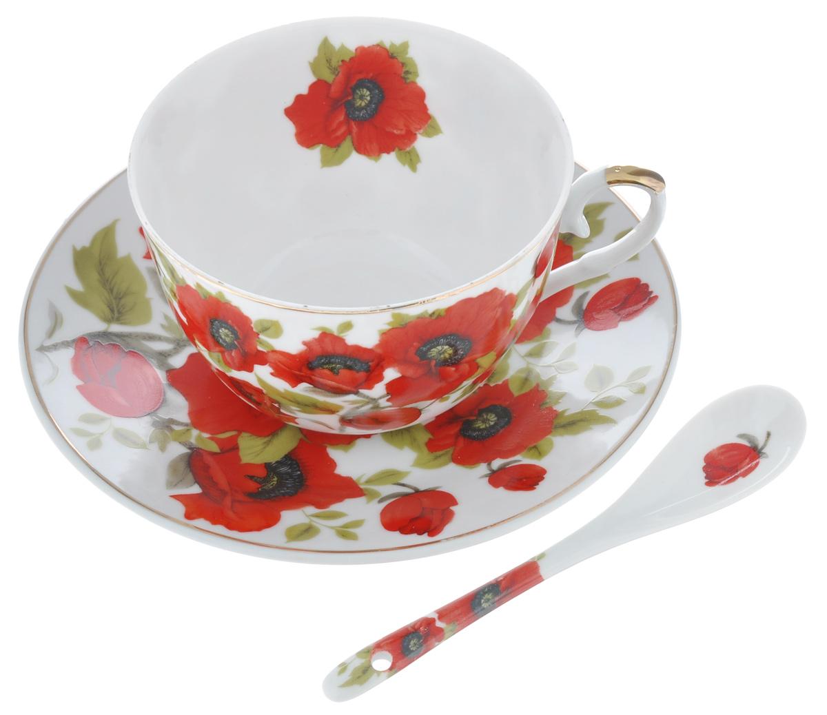 Чайная пара Elan Gallery Маки, с ложкой, цвет: белый, красный, 3 предмета180803Чайная пара Elan Gallery Маки, состоит из чашки блюдца и ложки. Предметы набора выполнены из высококачественной керамики и оформлены изящным изображением цветов. Яркий дизайн, несомненно, придется вам по вкусу. Чайная пара Elan Gallery Маки украсит ваш кухонный стол, а также станет замечательным подарком к любому празднику. Объем чашки: 250 мл. Диаметр чашки (по верхнему краю): 9,5 см. Диаметр дна чашки: 4,5 см. Высота чашки: 15 см. Диаметр блюдца: 6,5 см. Высота блюдца: 1,8 см. Размер рабочей поверхности ложки: 4 см х 2,5 см х 1 см. Длина ложки: 12,5 см.