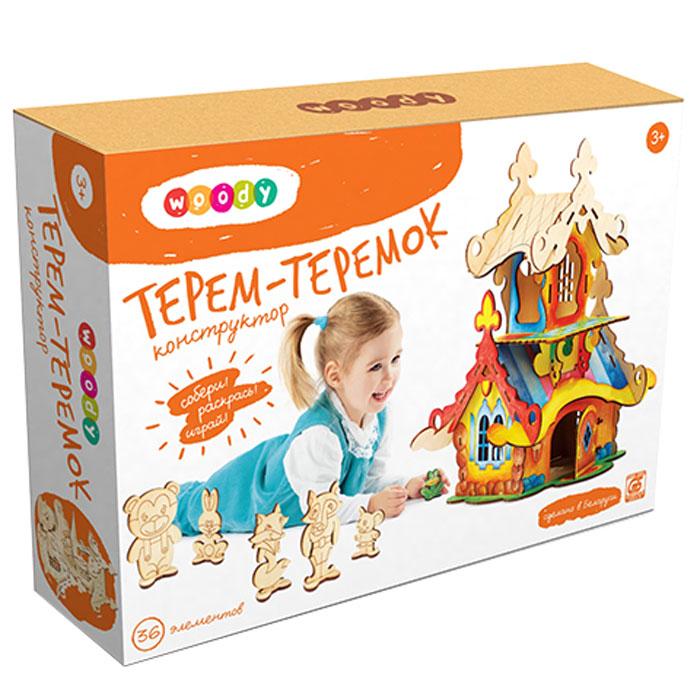 Woody Конструктор Терем-теремокWI-00150Деревянный набор-конструктор Woody Терем-теремок послужит отличным тренажером для развития навыков конструирования у вашего ребенка. Набор включает в себя 36 деревянных элементов, из которых ребенок сможет собрать большой теремок, жителями которого станут герои сказки: Мышка, Лягушка, Зайчик, Волк, Лиса и Медведь. Разукрасить его можно по своему вкусу, ведь сделан он из дерева без пропиток и красителей. Правильно собрать набор ребенку поможет иллюстрированная инструкция на русском языке. Сценарий сказки также входит в комплект. Сборка конструктора поможет ребенку развить мелкую моторику рук, научиться концентрировать внимание, а также поспособствует развитию логического и абстрактного мышления и фантазии.