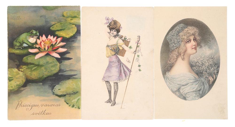 Поздравляю! Комплект из 3 открытокНВА-2 2508 16-39Комплект из 3 поздравительных открыток. Западная Европа, XX века. Размер открыток: 14 х 9 см. Сохранность хорошая. Одна открытка с письмом.