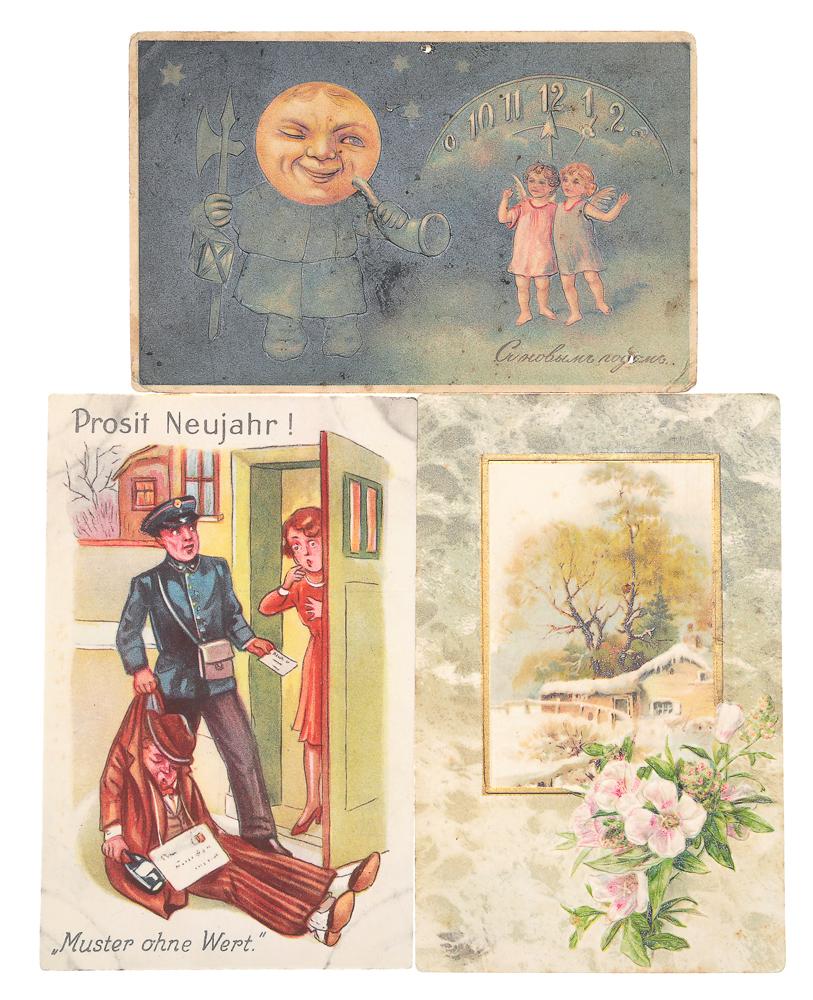 С Новым Годом! Комплект из 3 открытокНВА-2 2508 16-39Комплект из 3 новогодних открыток. Западная Европа, Российская империя, начало XX века. Размер открыток: 14 х 9 см. Сохранность хорошая. Одна открытка с письмом.