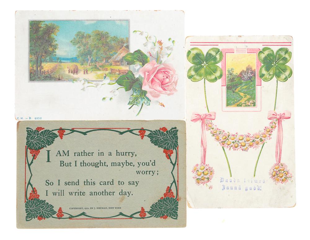 Поздравляю! Комплект из 3 открытокПКПМВСКомплект из 3 поздравительных открыток. США, Российская империя, начало XX века. Размер открыток: 14 х 9 см. Сохранность хорошая. Две открытки с письмами.